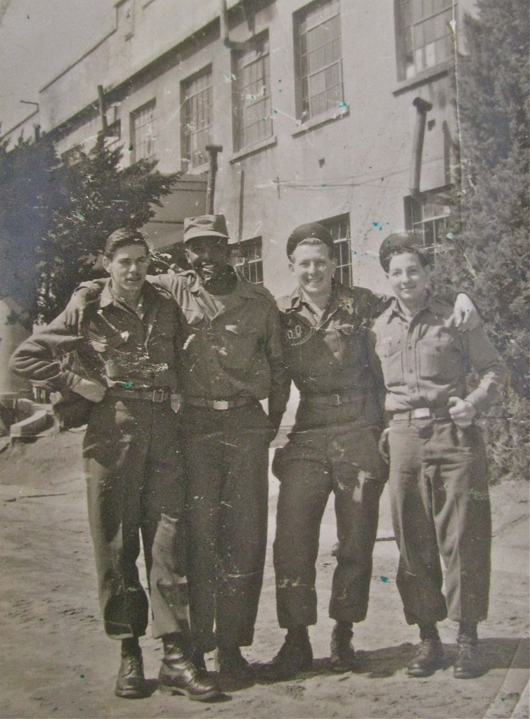 Aronow and his buddies recover from their wounds. They're standing outside the hospital in Japan where they were treated. He the third soldier from the left. Photo provided