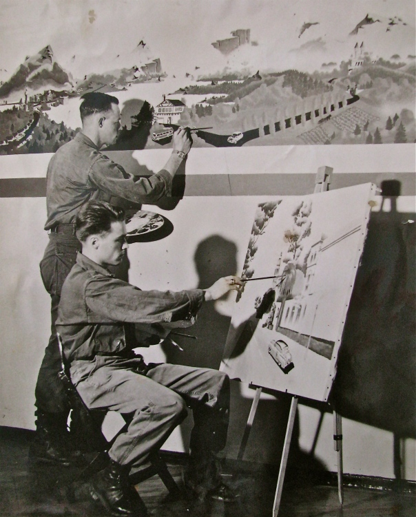 Pvt. Alex Haak is shown in the foreground painting murals for the 43rd Infantry Division's mess hall in Germany in 1953 when he served in headquarter's company. Photo provided