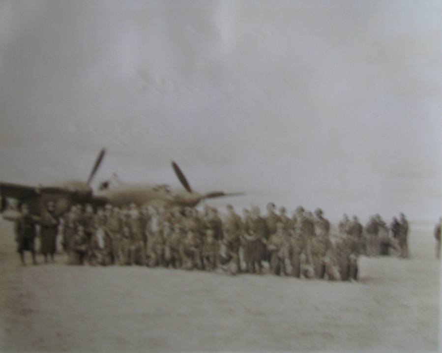 French soldiers in front of P-38 somewhere in North Africa. Photo provided