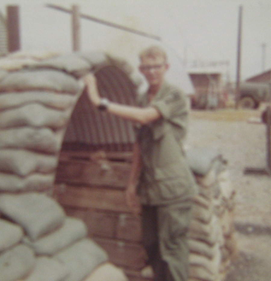Sgt. Ron York stands in front of his hooch at the 34th Combat Engineers base camp at Puloy, Vietnam about 65 miles from Saigon. He was in 'Nam in 1969-70. Photo provided