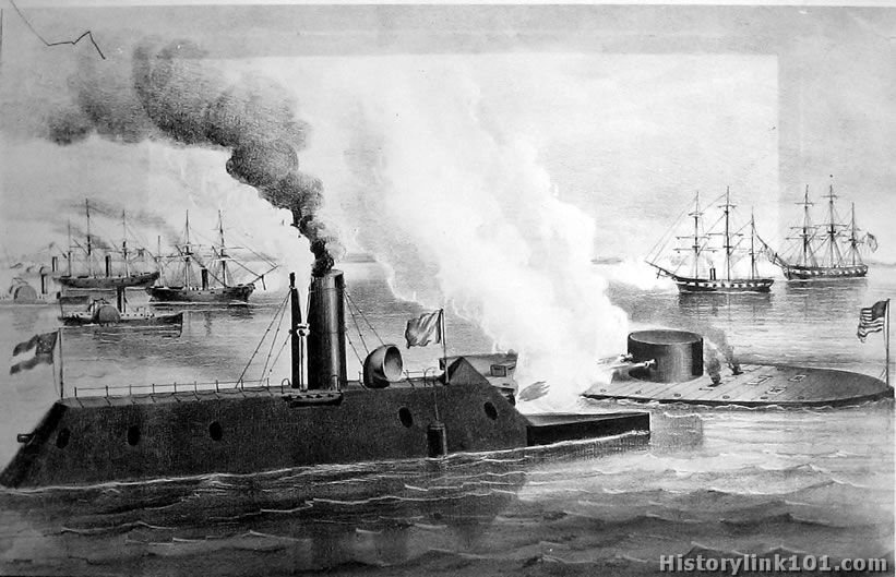 This is a line drawing of the April 1862 battle of the ironclads - USS Monitor and the CSS Merrimack - in Hampton Roads, VA that Franz Baumann witnessed as a young Union soldier. Photo from the Naval Historical Center archives