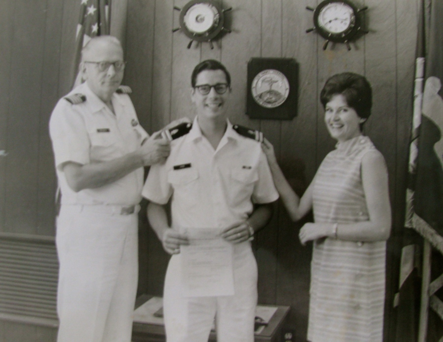 Hyde becomes a Naval lieutenant while serving at Subic Bay in the Phillippines in the 1960s. His wife, Linda, pins on one shoulder board while his boss takes care of the other shoulder. Photo provided