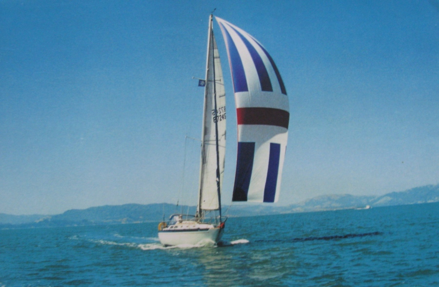 The couple sail aboard their 36-foot sloop in San Francisco Bay while serving in the Navy in California. Photo provided