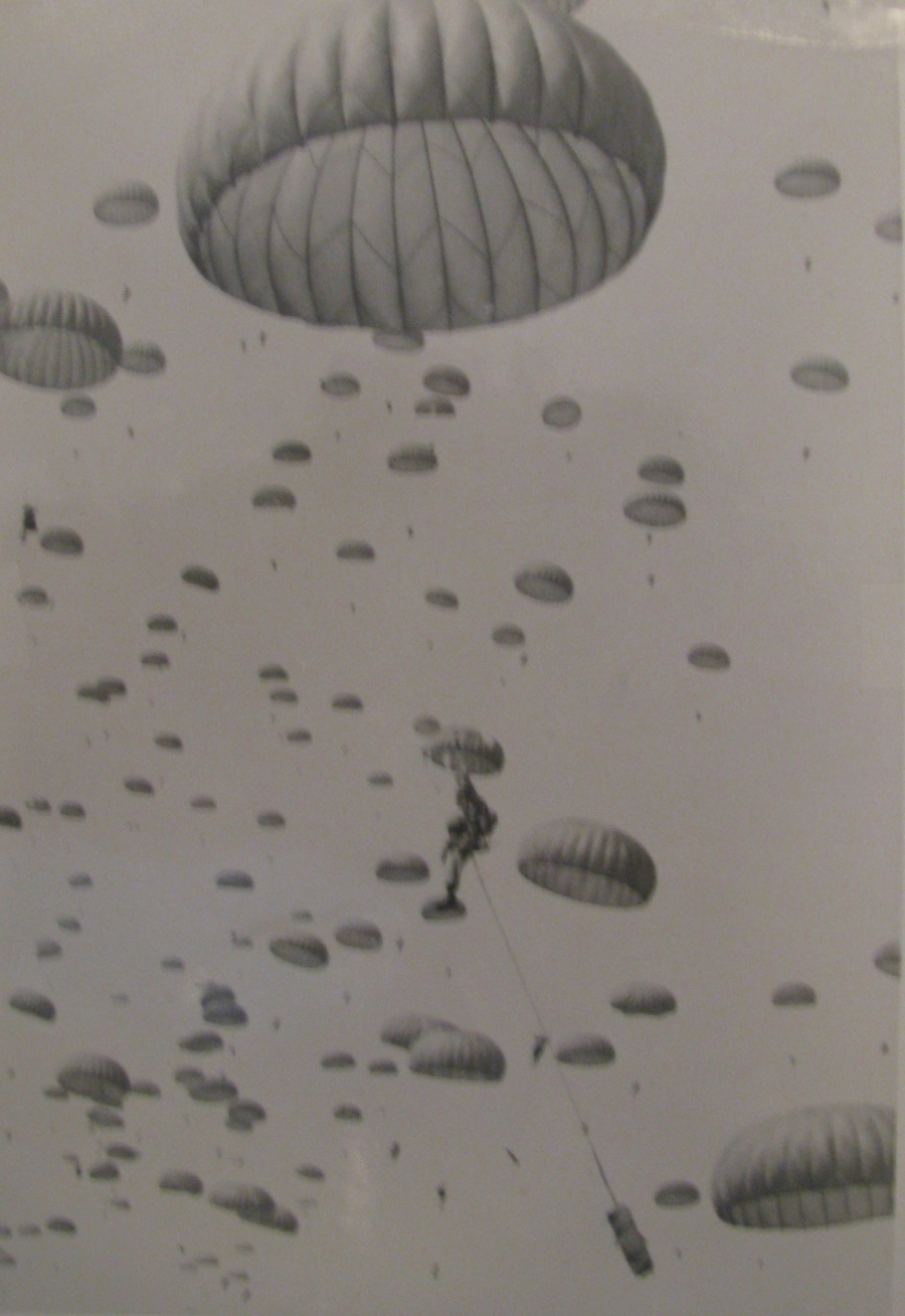 Scores of newly minted paratroopers head toward the ground during a training exercise in the 1960s at Fort Campbell. Photo provided