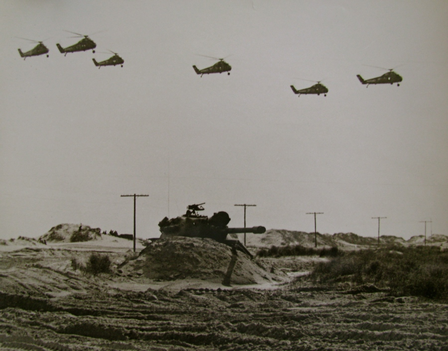 Marines were playing amphibious landing war games. A tank holds a beach while a squadron of H-34 Sikorsky helicopters, like the kind Jasica flew, flies overhead. Photo provided