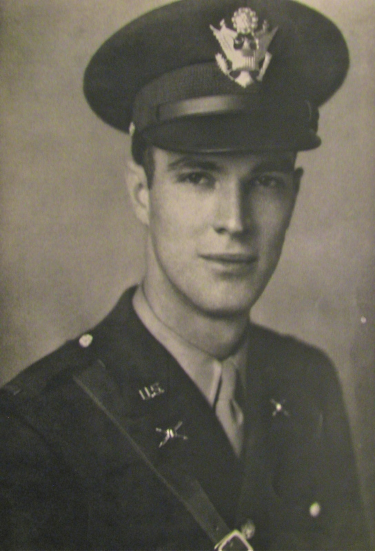 This was Charles Maloney shortly after graduating from OCS in 1944. He took part in the Hürtgen Forest segment of the Battle of the Bulge, where all of his platoon was wiped out by incoming German 88 fire. Photo provided