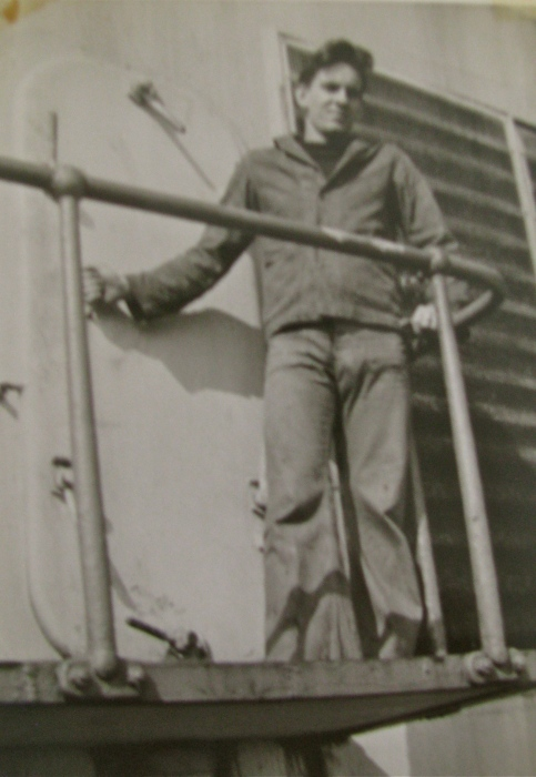 Arthur Card is pictured as an 18-year-old Merchant Seaman aboard the converted German liner USAT George Washington during World War II. The liner was turned into a troop transport that cross the Atlantic numerous times during the war. Photo provided