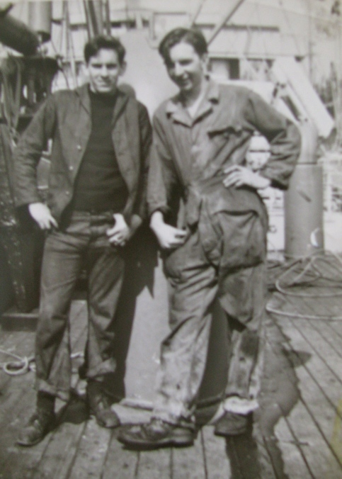 Card (left) is pictured with his buddy Cleveret Stewart of Cumberland, Maryland aboard the USAT George Washington during World War II. Photo provided