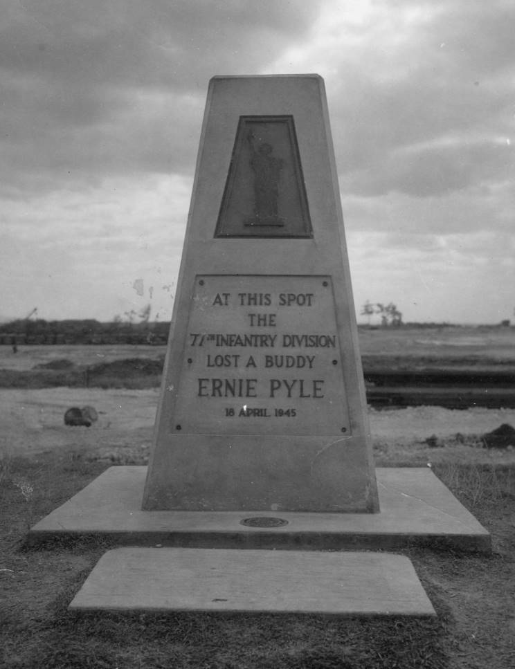 Ernie Pyle monument erected on Ie Shima, commemorating his death on April 18, 1945. Photo provided