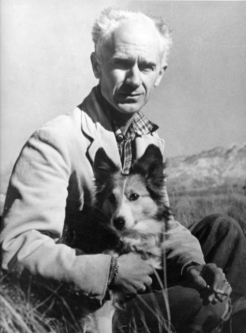 Ernie Pyle and his Cheetah, his Sheltie, near his home in New Mexico. Photo provided