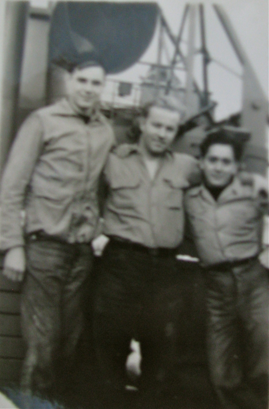 Power (left) with two buddies from long ago aboard Y-Boat-71 en route to war. Photo provided