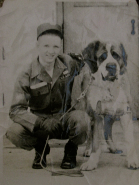 "Pvt. Reid was the 19-year-old ""Soldier of the Month"" in 1957 at the 101st Airborne's base in Fort Campbell, Ky. His job was to tend to ""Jumper,"" the division's St. Bernard mascot. Photo provided"