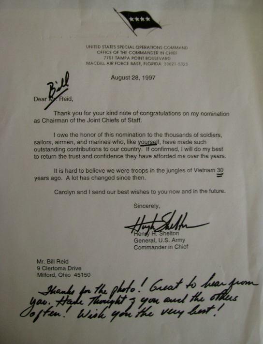 When Reid received this letter from Gen. Hugh Shelton he had just been appointed Chairman of the Joint Chiefs of Staff, the highest ranking officers in the U.S. military. Photo provided