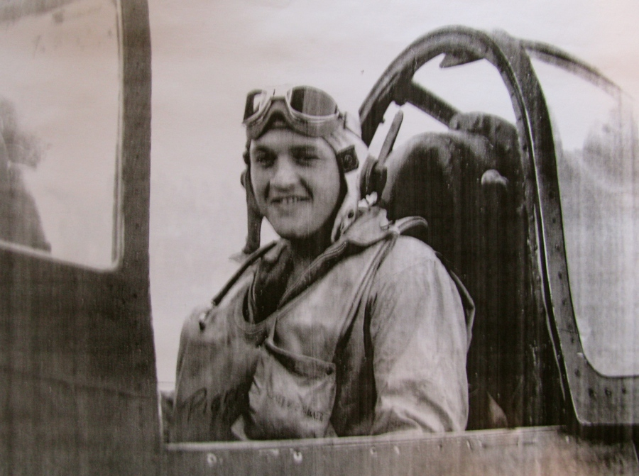This was 2nd Lt. Jack LeBoeuf in the cockpit of his Corsair fighter shortly after he received his gold wings as a Marine aviator in World War II. Photo provided
