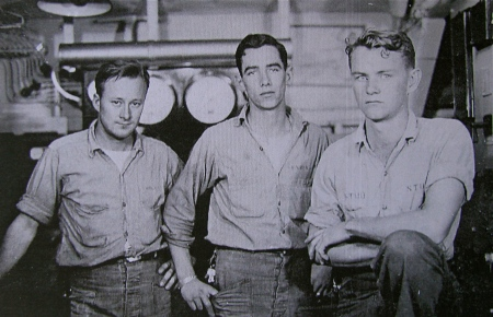MM/3 Grover Linsley (left) of Port Charlotte, Fla. and two of his buddies, Virgil Vandiver and Kemdle Stobbiefield, in the engine room of the USS Register during World War II. Photo provided