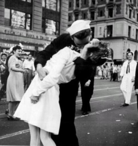 Alfred Eisenstedt's famous picture entitled 'Unconditional Surrender' taken in Times Square on Aug.14, 1945, VE-Day, could have been Margaret's friend who worked with her, but she decked the sailor when he tried to kiss her in Times Square a short time earlier. Photo provided