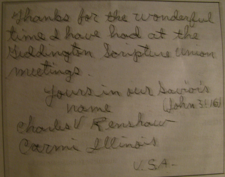 This is the note Staff Sgt. Charles Renshaw gave Peter Brown just before he left England for American in 1945. It was spotted on the internet by Charles' niece.