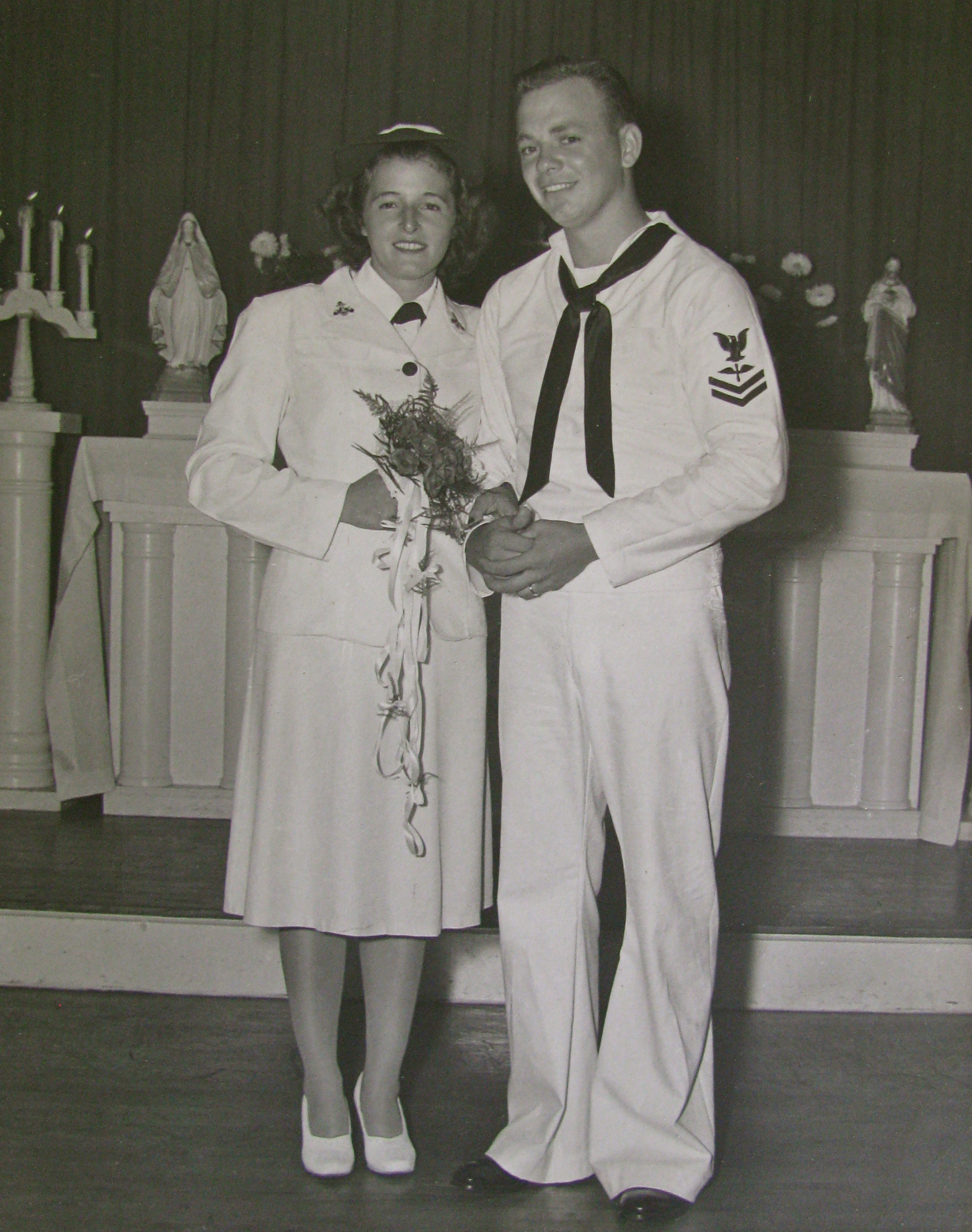 Kay and William Mc Neil in uniform on their wedding day, Aug. 21, 1945 ...