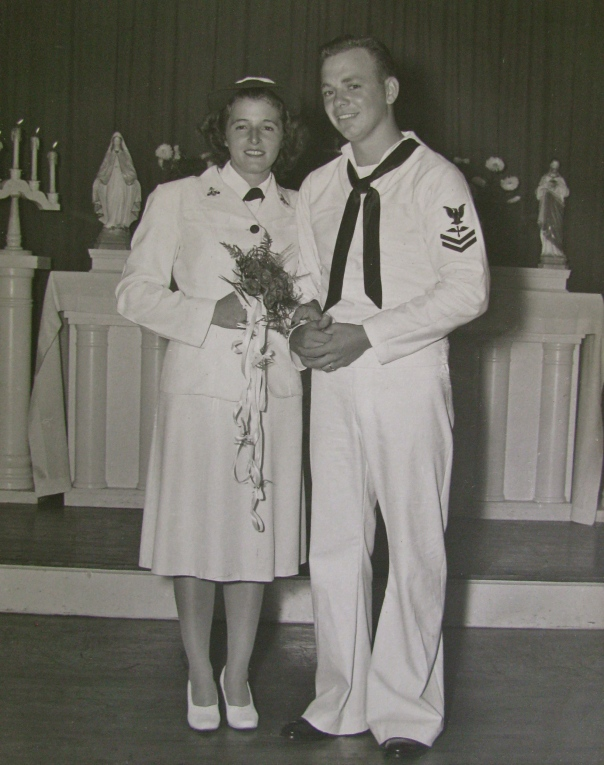 Kay and William Mc Neil in uniform on their wedding day, Aug. 21, 1945, at the base chapel  at Pensacola Naval Air Station. Photo provided
