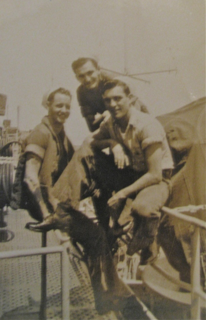 Medina is on the left with two of his buddies aboard the light carrier USS Wright shortly after graduating from boot camp shortly after World War II. Photo provided