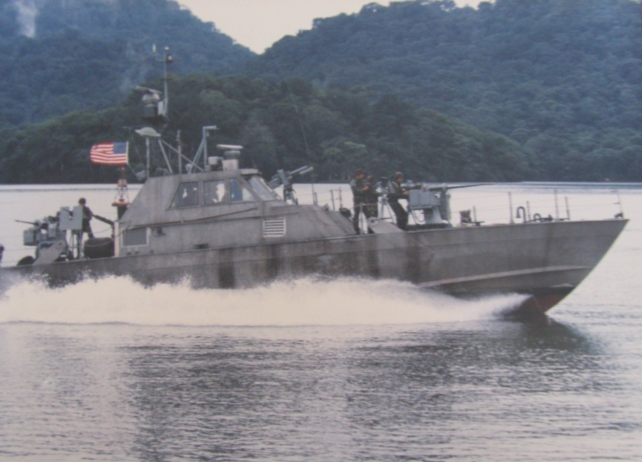 A 68′ all aluminum MK-III Sea Spectre patrol boat used during the fighting in Panama when Manuel Noriega, the Panamanian strongman was captured by U.S. Seals. Avenancio was responsible for keeping these boats operational. Photo provided