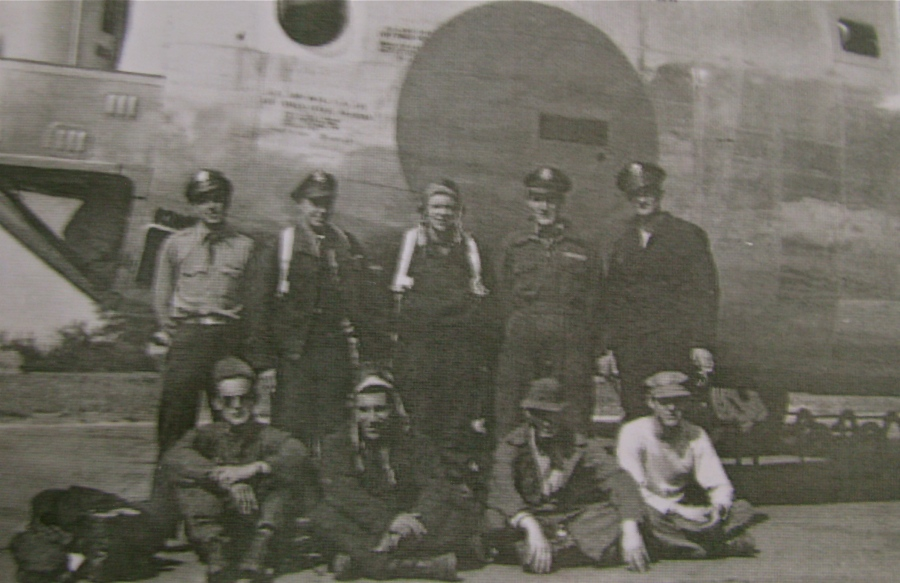 The crew of the B-24 four engine, heavy bomber they named