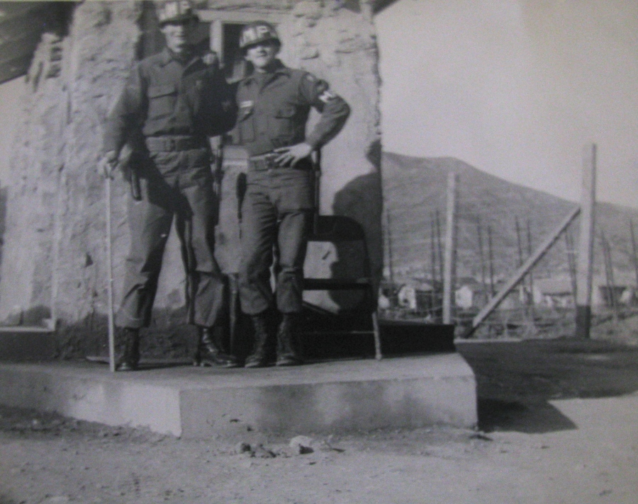 Pfc. Mercurio (on the right) with a buddy was made an MP overnight and given the task of guarding the a POW camp built to house North Korean POWs on Kobe-Do Island off the coast of South Korea. The camp held no POWs, they had all been released. Photo provided