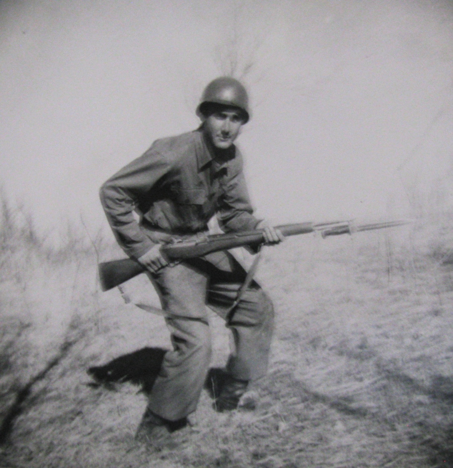 Mercurio plays John Wayne for the camera with his M-1 rifle. Photo provided