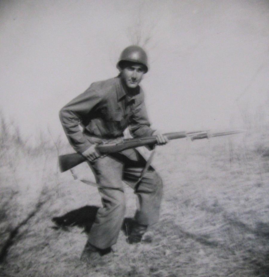 Mercurio plays John Wayne for the camera with his M-1 rifle. Photo provided