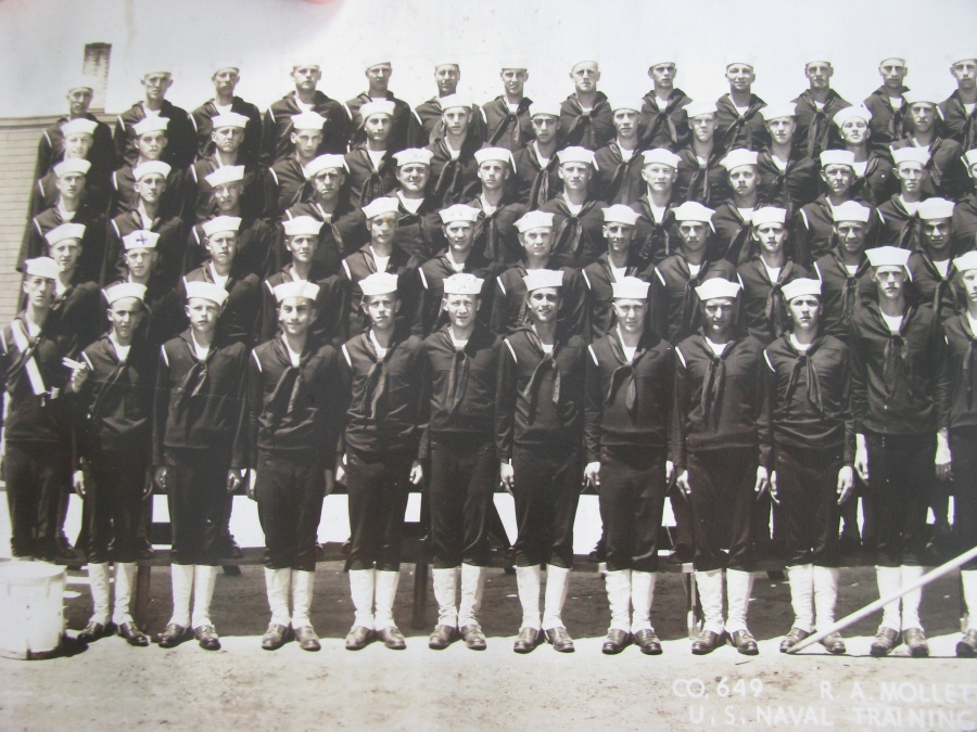 This is part of Max Jones' graduating class at Great Lakes Naval Training Center outside Chicago in 1944. He's the swabbie  in the second row the second from the left. Photo provided