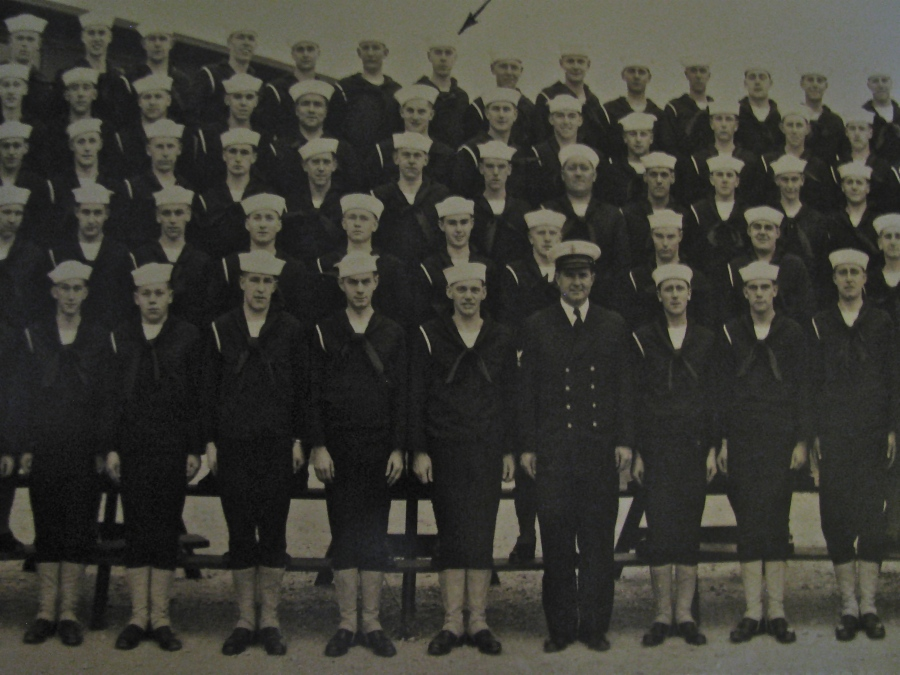 This is Aviation-mechanic Robert Smith's boot camp graduation picture. He's the fellow under the ink-arrow on the top row center. This was Company 283 at the Green Bay, Wis. Naval Training Center in March 1943. Photo provided