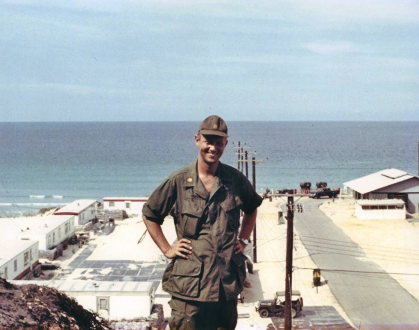 Maj. Carl Hansen stands with his back against the sea on the huge Army base at Cam Ranh Bay, South Vietnam in 1968 during a tour to the beleaguered country. Photo provided