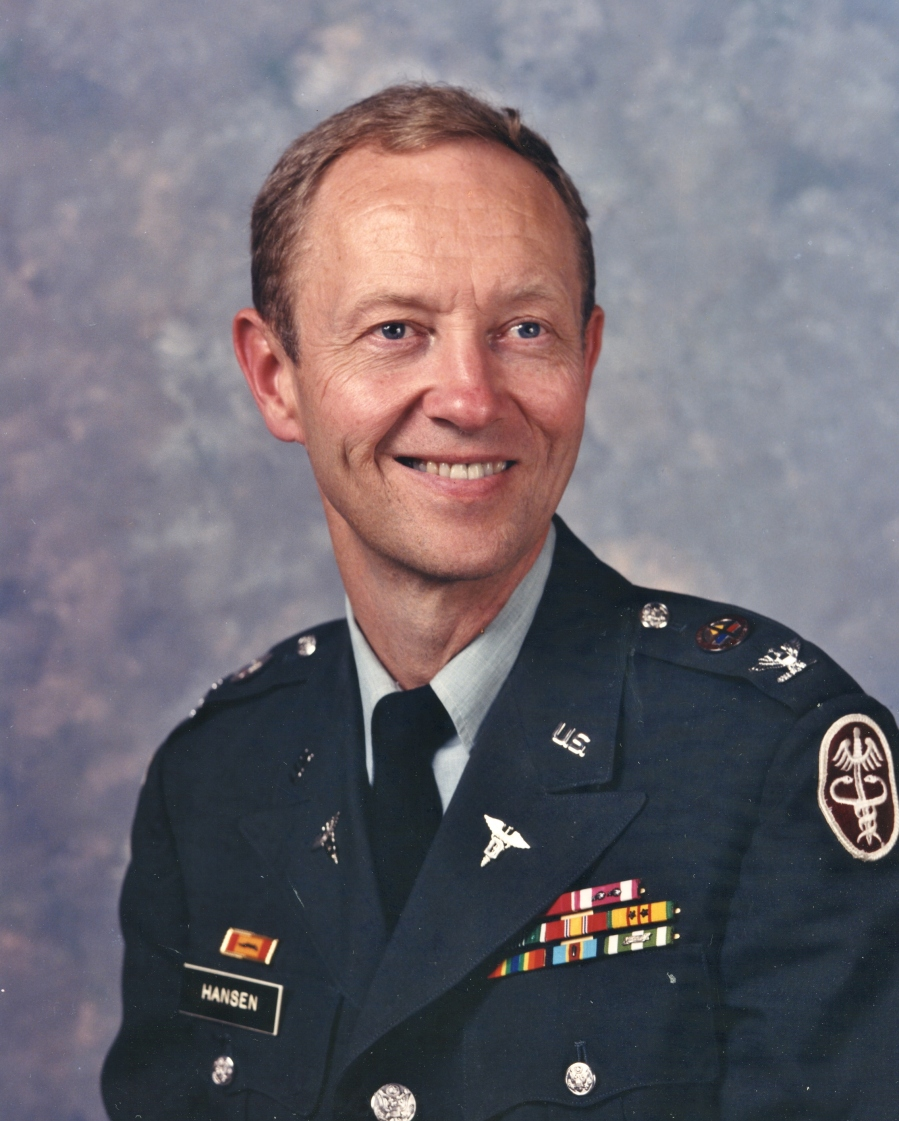 Col. Hansen is pictured in his dress uniform before he retired from the Army in 1985 after 21 years in the regular Army's Dental Corps. Photo provided