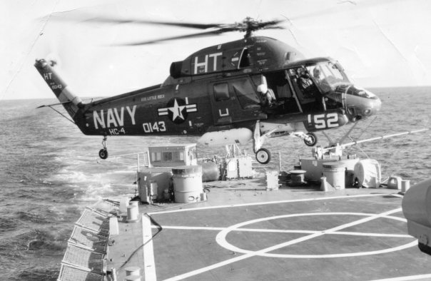 "This SH-2 ""Seasprint"" helicopter is like the one Dickinson flew when he first arrived in Vietnam in 1969. During the second half of his tour over there he flew a ""Huey"" on patrols or tactical air support missions for ""The Seawolves,"" a Navy attack squadron. Photo provided"