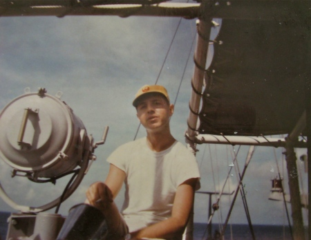 Ensign Jay Stuart is pictured aboard the U.S. Navy minesweeper USS Phoebe during his first day on patrol off the coast of Vietnam in 1967. Photo provided