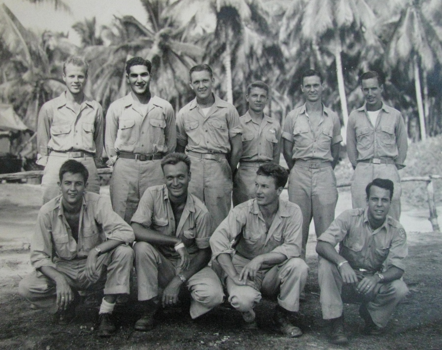 This was Greenwood's bomber crew. He is the fellow at the far left squatting. Next to him is George Price, pilot of the four-engine bomber who Greenwood said was the best B-24 pilot in the Air Corps. The picture was taken on Morotai Island in the Pacific in 1945 Photo provided