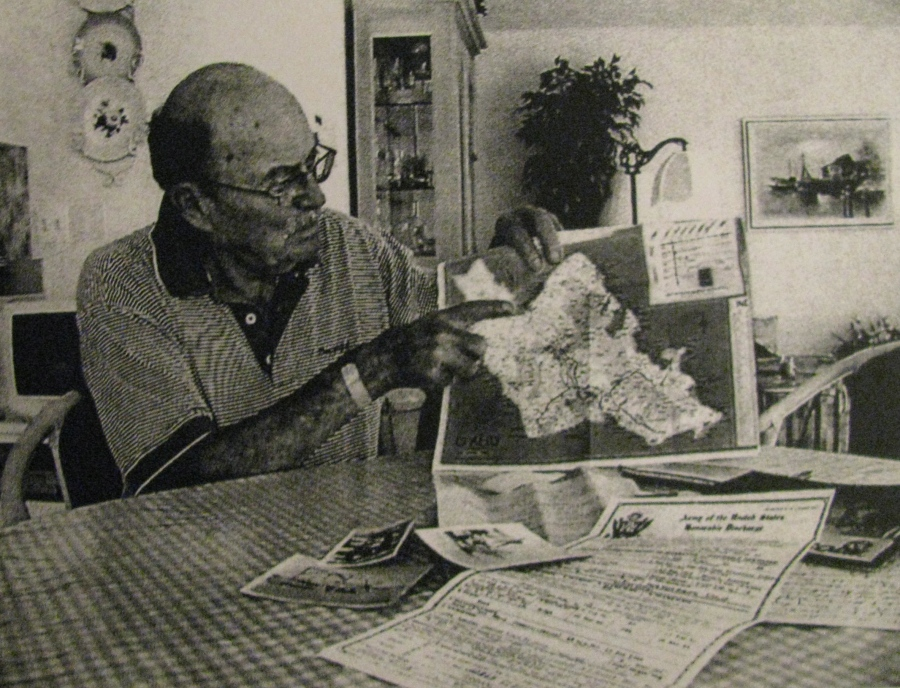 Sherick points to Haleiwa Field on the map of Oahu Island in Hawaii where he and the 47th Pursuit Squadron where based during much of the Second World War. Photo provided