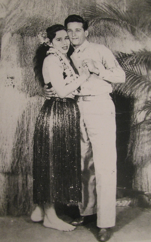 Like thousands of other servicemen before and after him, Mestre gets an almost obligatory picture with a hula girl before taking part in the invasion of Saipan during World War II. Photo provided by Marty Mestre