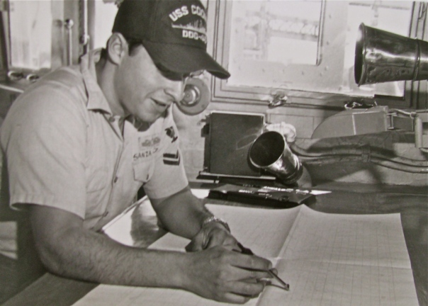 Sanzalone was a young quartermaster aboard the destroyer USS Coontz (DD-640) in 1983 when this photo was taken. He was plotting the ship's course at the time. Photo provided