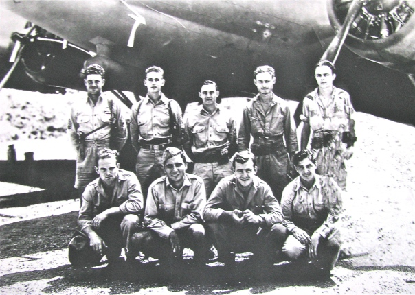 This is Pickering's B-17 crew when he was flying out of Port Moresby, New Guinea with the 64th Squadron, 43rd Bomb Group, 5th Air Force in World War II. He was the co-pilot and the fellow in the front row with the hat on. Photo provided by John Pickering