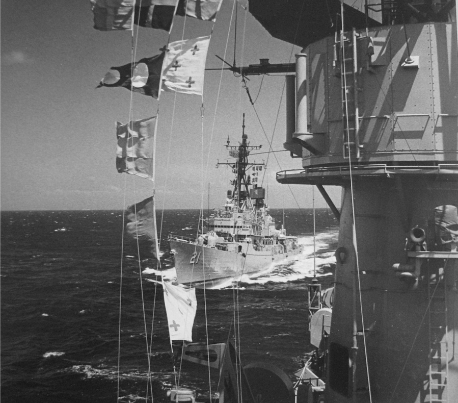 "When this picture of the USS Cochrane (DDG-21) was shot in 1975 Clarity was captain of the guided missile destroyer. The picture was taken during the filming of the TV show ""Hawaii Five-0."" Jack Lord, the main character in the TV series, is being transferred by boatswain's chair at sea from the Cochrane to the destroyer USS Perry (DD-340). Photo provided"