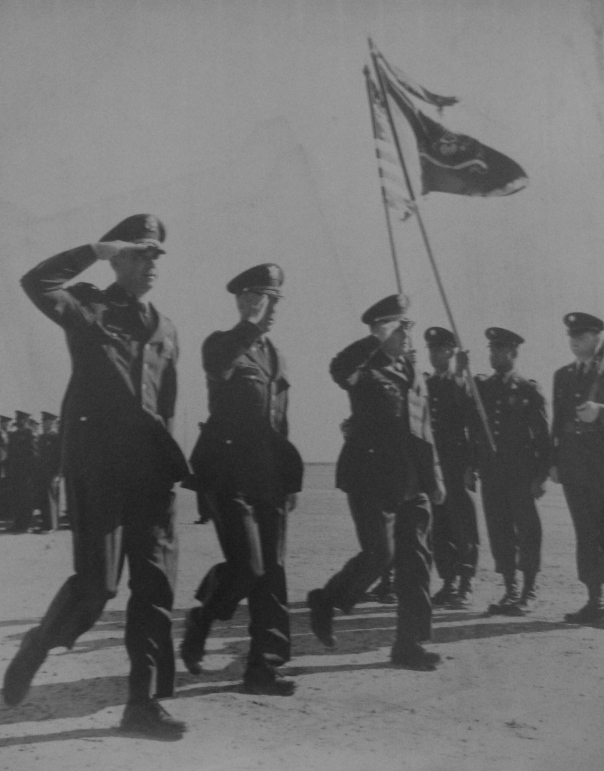 Change of command in 1967 in Fort Bliss, Texas when he relinquished his command of the 31st Engineering Battalion to a new commander. He's the officer saluting the colors second from the left. Photo provided