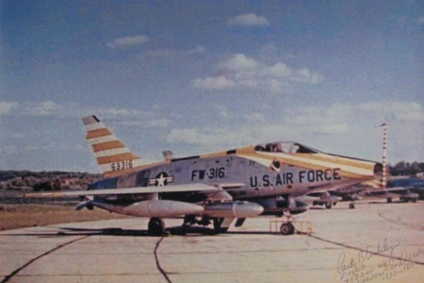 "This F-100 ""Super Sabre"" jet fighter-bomber was kept in the air by Endsley and his crew. If World War III had started the plane would have dropped a hydrogen bomb on the Soviet Union. Photo provided"