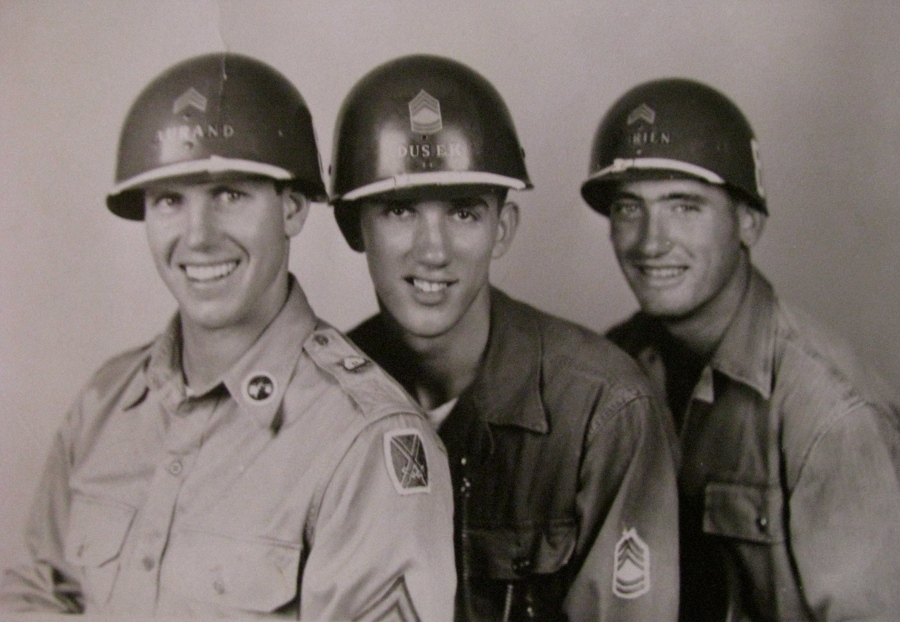 Sgt. Charles Dusek who served with he Third Infantry Division during the Korean War is pictured in 1953 when he returned from the war. He's the sergeant in the center. Photo Provided