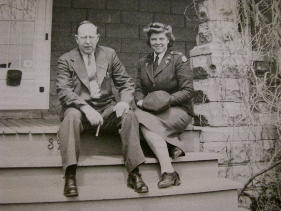 Jean is pictured with her father, Harold Moody, on the front porch of their Delmar, N.Y. home during the war. Photo provided