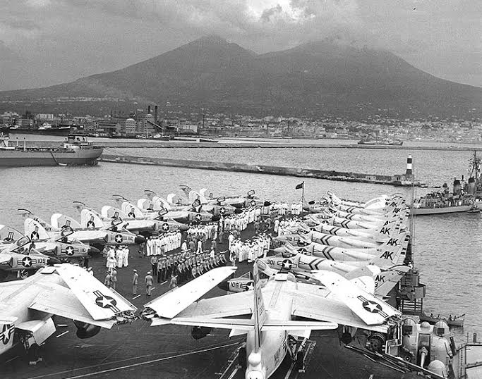 This picture was shot from the bridge of the Independence while the ship was moored in Naples Harbor. Vesuvius is the backdrop for the scene. Photo provided