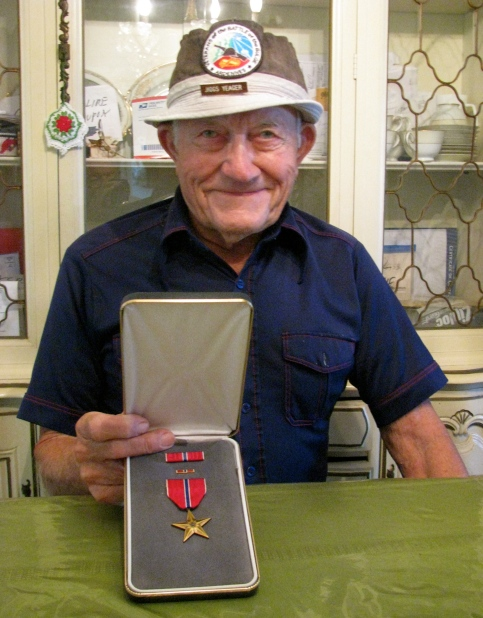 """Yeager today wearing his hat with the """"Battle of the Bulge"""" emblem on the front. He is 94. Sun photo by Don Moore"""