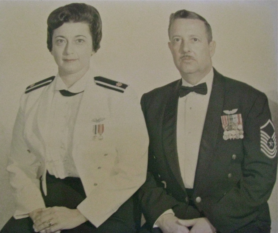 Mary and Lee Chalifour are pictured in their formal military attire on their way to a post commander's ball in Tachikawa, Japan. At the time she was a major in the Air Force's Nurses Corps and he was a senior master sergeant in the Air Force. Photo provided
