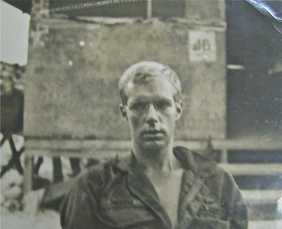 "Morris stands in front of his ""hooch"" while serving with he 237th Medical Detachment in Vietnam in 1970 near Quang Tri close to the DMZ (Demilitarized Zone). Photo"