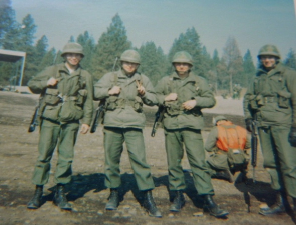 Don Rudness of North Port and several of his buddies are pictured at Fort Louis, Wash. in April 1969 before he shipped out for Vietnam. He's the second soldier from the left. Photo provided